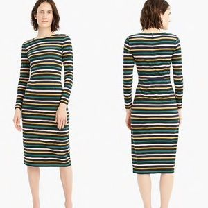 J.Crew Petite Navy Multi Stripe Long-Sleeve Dress